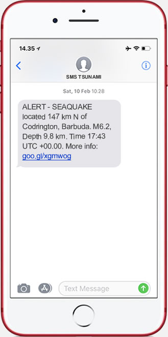 Earthquake & Tsunami Alerts to your cell phone