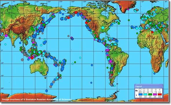 Tsunamis history map